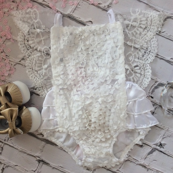 6baabb5600a2 Boutique Baby Girl Antique White Lace Romper